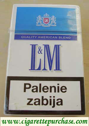 Discount L&M Quality American Blend Blue Label cigarettes hard box