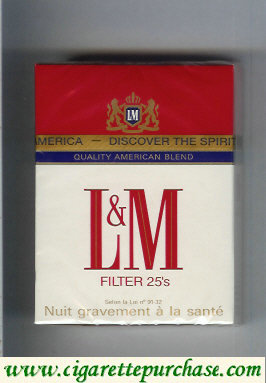Discount L&M Quality American Blend Filter 25s cigarettes hard box