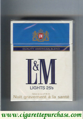 Discount L&M Quality American Blend Lights blue Lights 25s cigarettes hard box