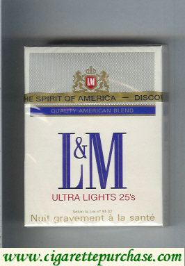 Discount L&M Quality American Blend Ultra Lights 25s cigarettes hard box