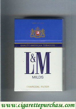 Discount L&M Quality American Tobaccos Milds Charcoal Filter cigarettes hard box