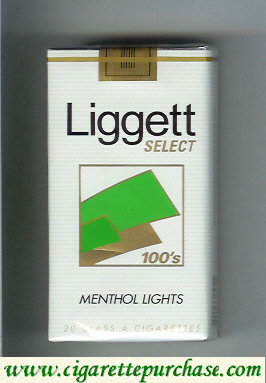 Discount Liggett Select 100s Menthol Lights cigarettes soft box
