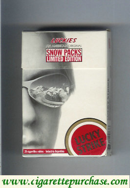 Discount Lucky Strike Luckies Snow Packs Limited Edition hard box cigarettes