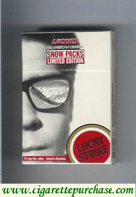 Discount Lucky Strike Luckies Snow Packs cigarettes hard box
