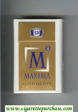 M Maxima Gold Lights cigarettes hard box