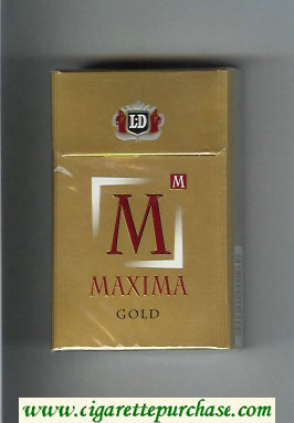 M Maxima Gold cigarettes hard box