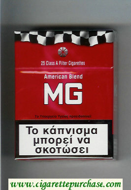 MG American Blend red 25s cigarettes hard box