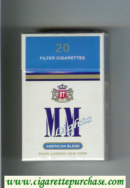 MM American Blend Lights white and blue cigarettes hard box