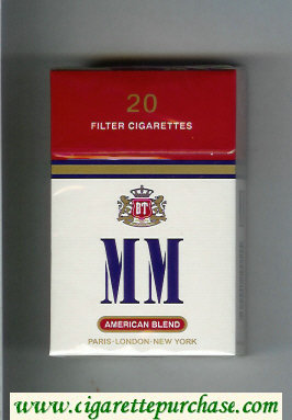 MM American Blend white and red cigarettes hard box