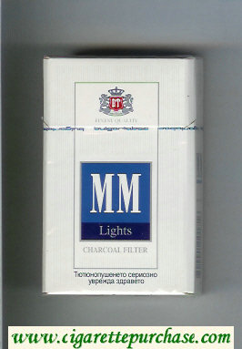 MM Lights Charcoal Filter white and blue cigarettes hard box