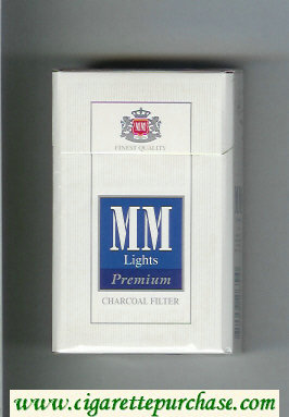 MM Premium Lights Charkoal Filter white and blue cigarettes hard box