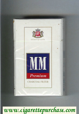 MM Premium Charkoal Filter white and blue and red cigarettes hard box