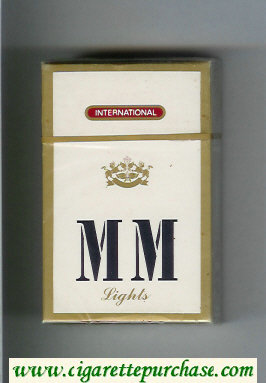 MM Lights International white and gold cigarettes hard box
