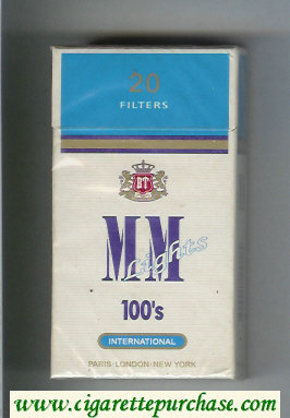 MM Lights 100s International white and bule cigarettes hard box