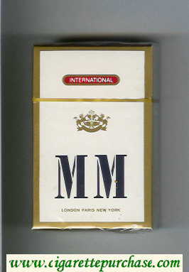MM International white and gold cigarettes hard box