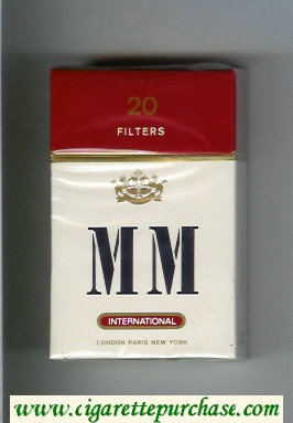 MM International white and red cigarettes hard box