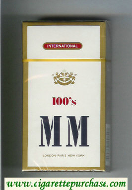 MM International 100s white and gold cigarettes hard box