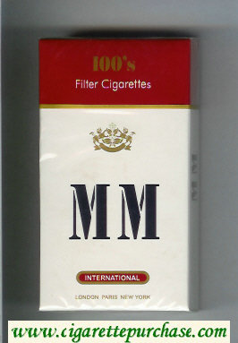 MM International 100s white and red cigarettes hard box