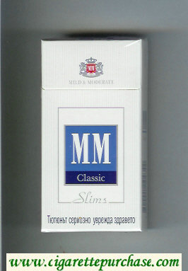 MM Slims Classic white and blue cigarettes hard box