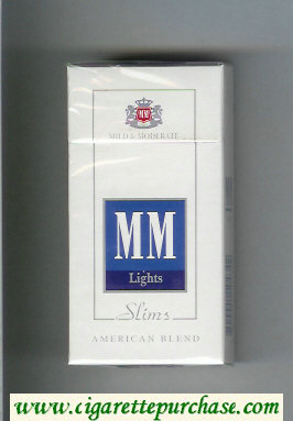 MM Slims Lights American Blend white and blue cigarettes hard box