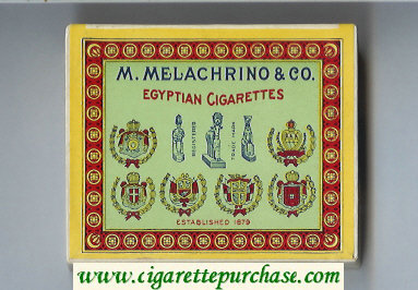 M.Melachrino and Co.Egyptian Cigarettes wide flat hard box