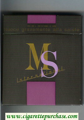 MS Internetional 100s wide flat hard box cigarettes