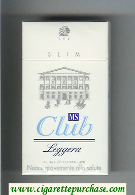 MS Club ETI Slim Leggera 100s cigarettes hard box