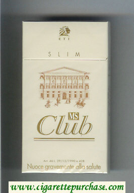 MS Club ETI Slim 100s cigarettes hard box