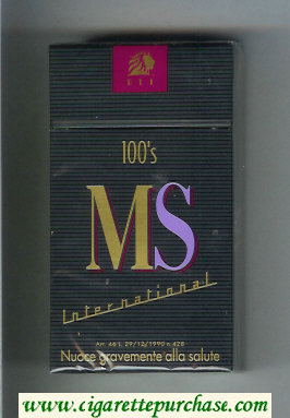 MS ETI International 100s cigarettes hard box