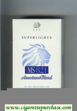 Discount MS ETI 821 Superlights American Blend cigarettes hard box