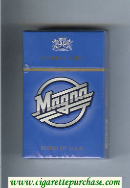 Discount Magna Luxury Lights Blend of USA blue cigarettes hard box