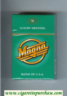 Discount Magna Luxury Menthol Blend of USA green cigarettes hard box