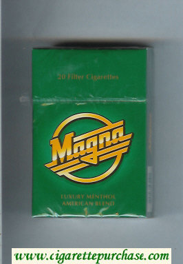 Discount Magna Luxury Menthol American Blend green cigarettes hard box