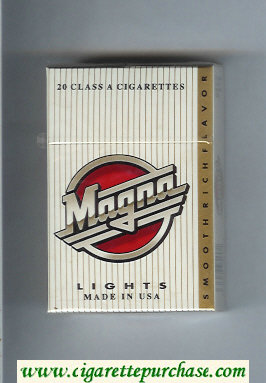 Magna Smooth Rich Flavor Lights white and gold cigarettes hard box