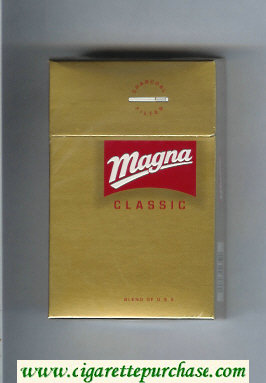 Discount Magna Classic Blend of USA gold and red cigarettes hard box