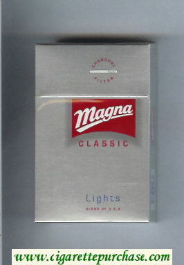 Discount Magna Classic Lights Blend of USA silver and red cigarettes hard box