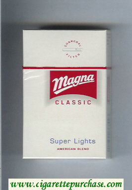 Discount Magna Classic Super Lights American Blend white and red cigarettes hard box