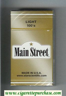 Main Street Light 100s cigarettes hard box