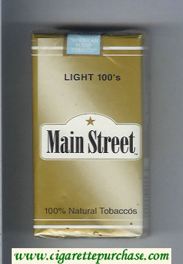 Main Street Light 100s cigarettes soft box