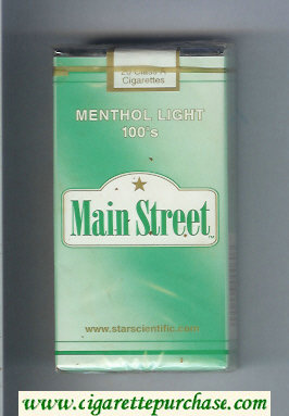 Main Street Menthol Light 100s cigarettes soft box