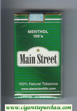 Main Street Menthol 100s cigarettes soft box