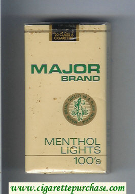 Major Brand Menthol Lights 100s cigarettes soft box