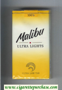 Malibu Ultra Lights 100s cigarettes soft box