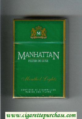 Manhattan Menthol Lights Filter Deluxe cigarettes hard box