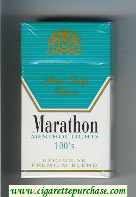 Marathon Menthol Lights 100s Exclusive Premium Blend cigarettes hard box