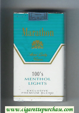 Marathon Menthol Lights 100s Exclusive Premium Blend cigarettes soft box