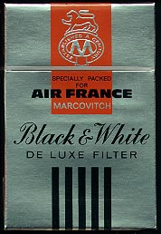 Marcovitch Black and White Deluxe Filter cigarettes hard box