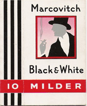 Marcovitch Black and White 10 Milder cigarettes hard box