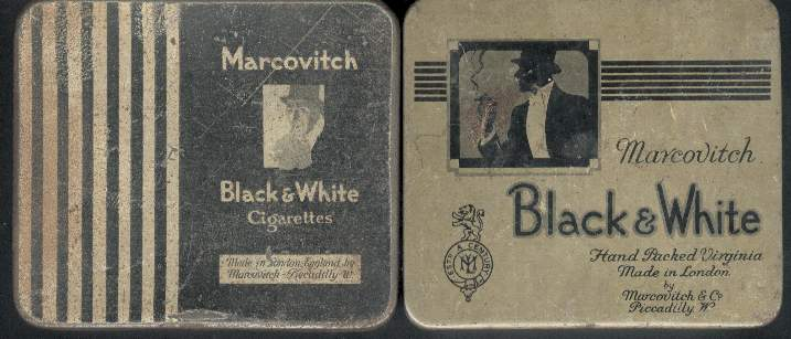 Marcovitch Black and White Cigarettes wide flat hard box