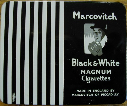 Marcovitch Black and White Magnum Cigarettes wide flat hard box